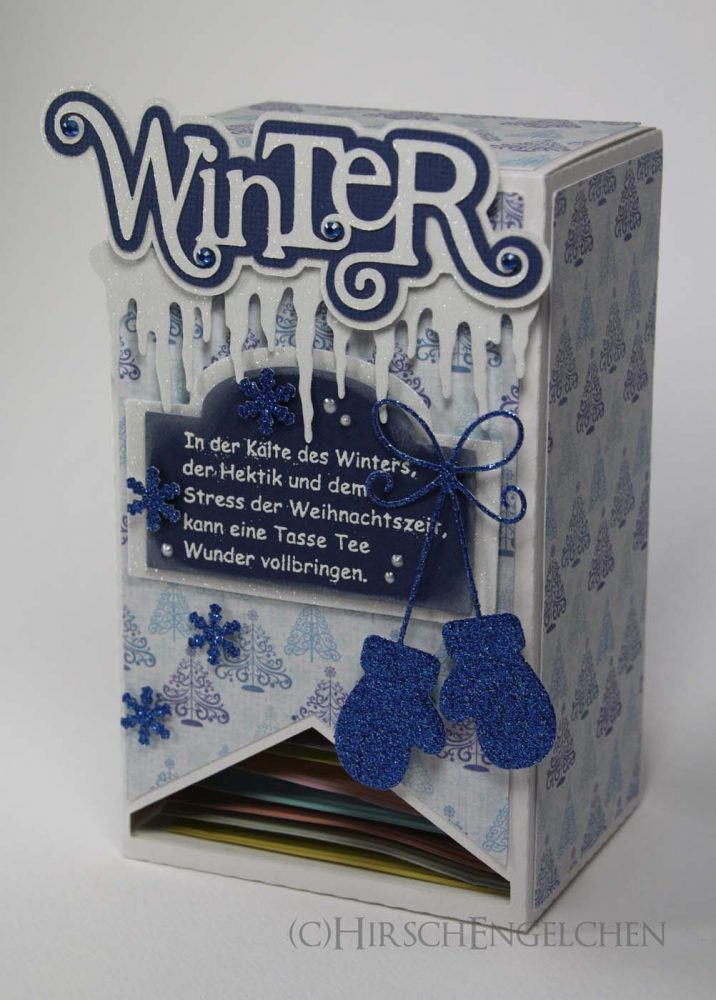 Teebeutel Adventskalender Winter hellblau