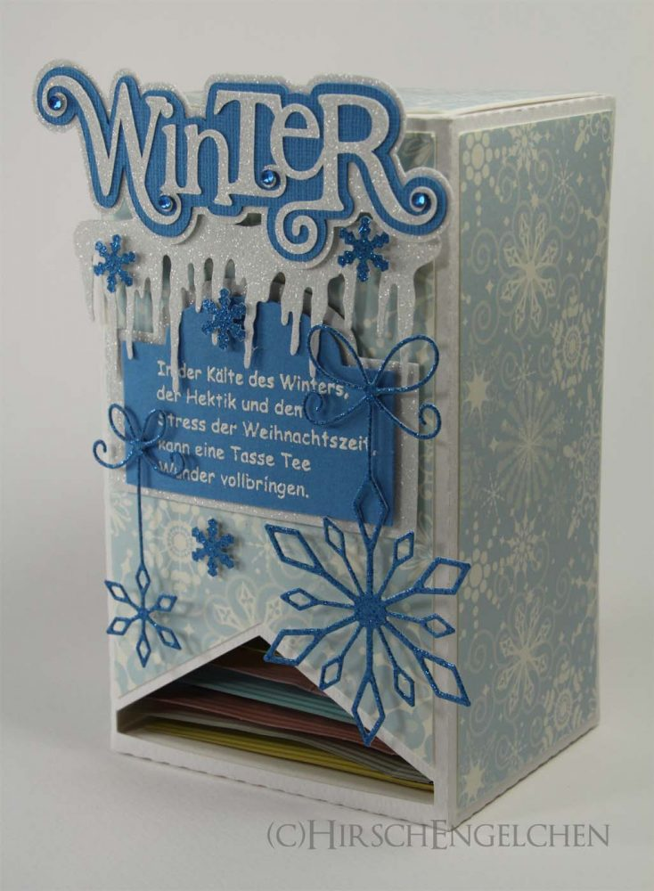 Teebeutel Adventskalender Winter türkis