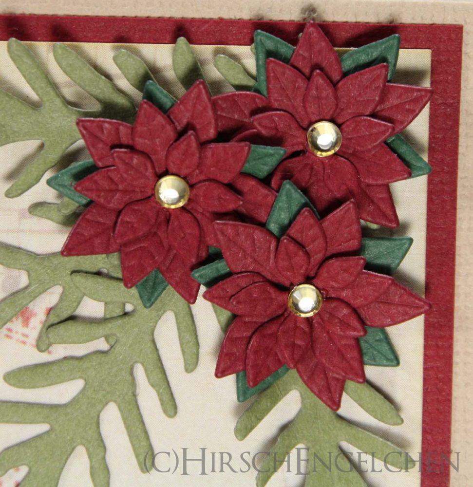 Weihnachtskarte Vintage Detail Poinsettia
