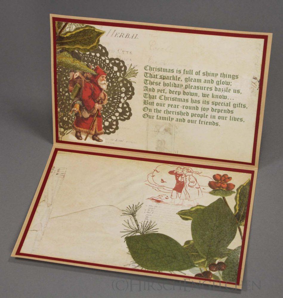 Weihnachtskarte Vintage aufgeklappt