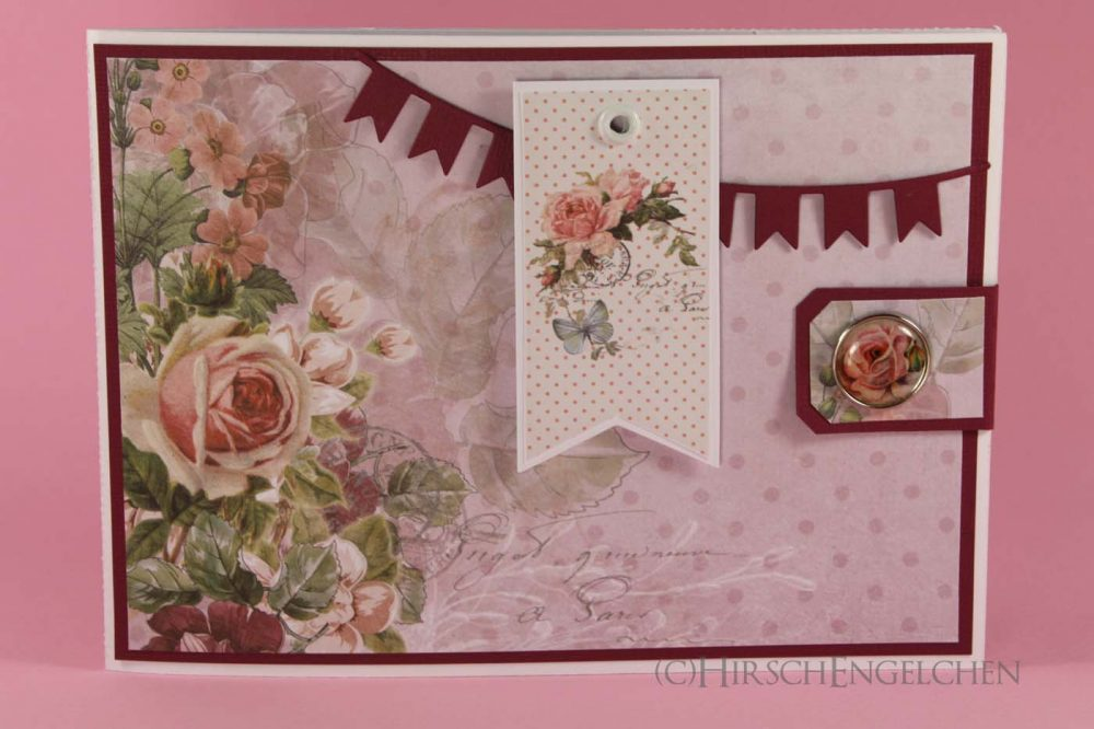 birthday set rose blue card front