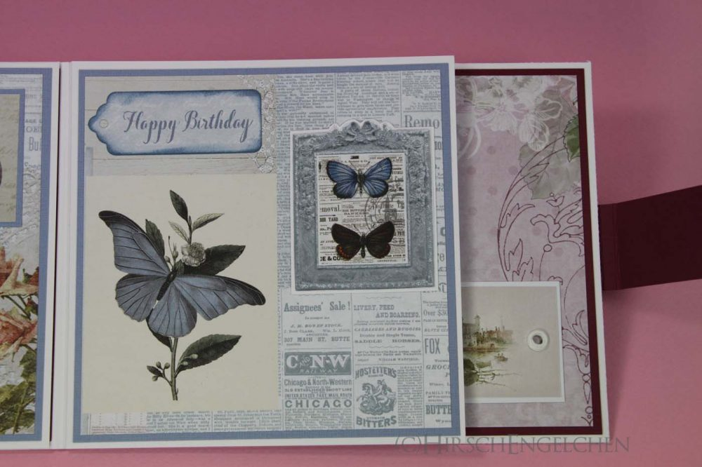 birthday set rose blue card inside middle