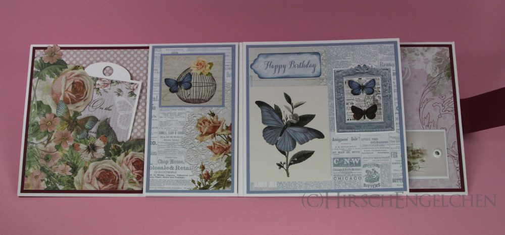 birthday set rose blue card open