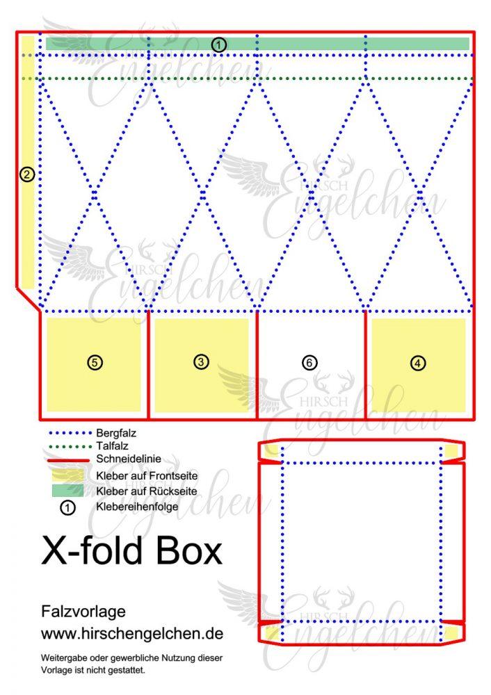 X-fold Box Falzvorlage