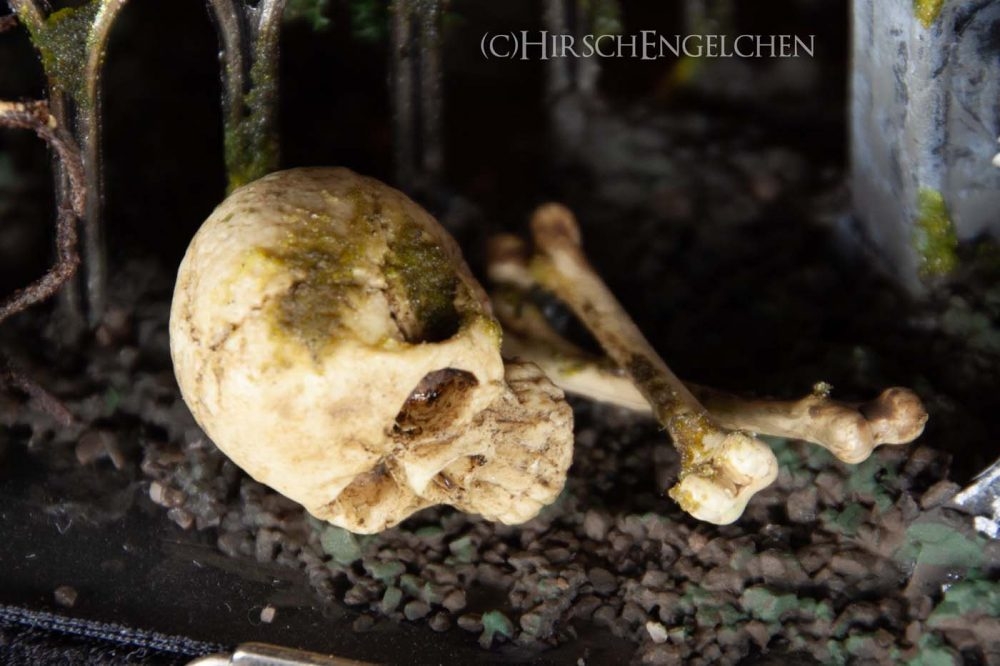 Spooky Halloween Diorama On the cemetery skull and bones