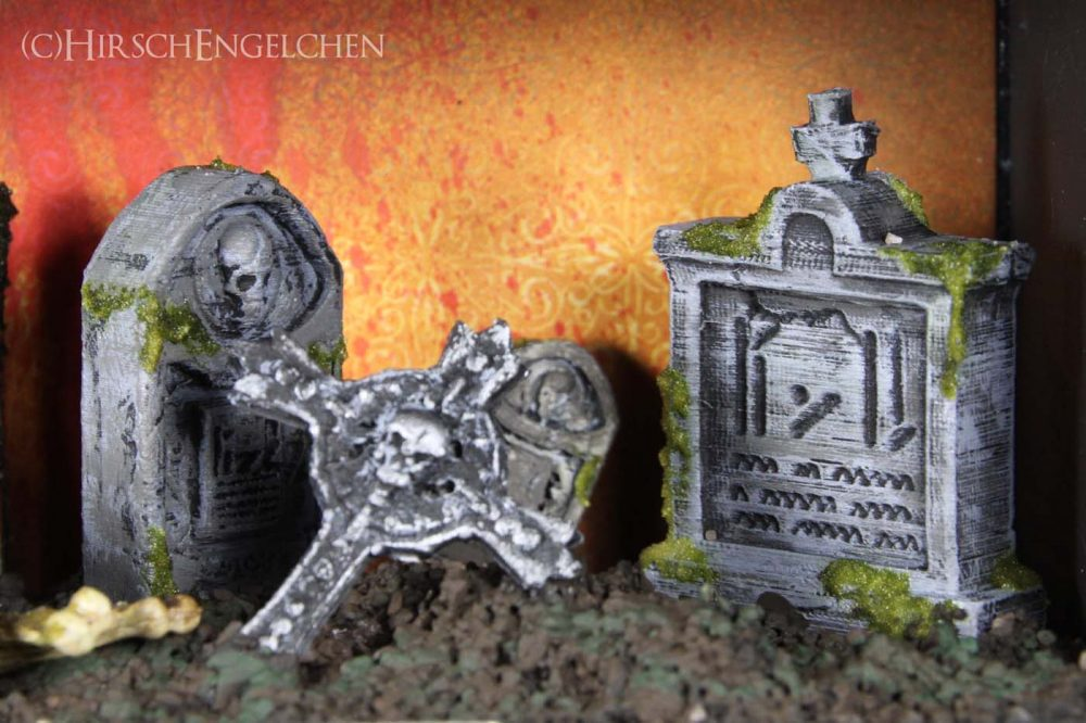 Spooky Halloween Diorama On the cemetery graves