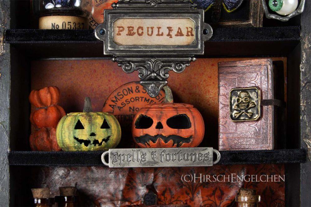 Spooky Halloween Diorama Kürbis und Zaubersprüche