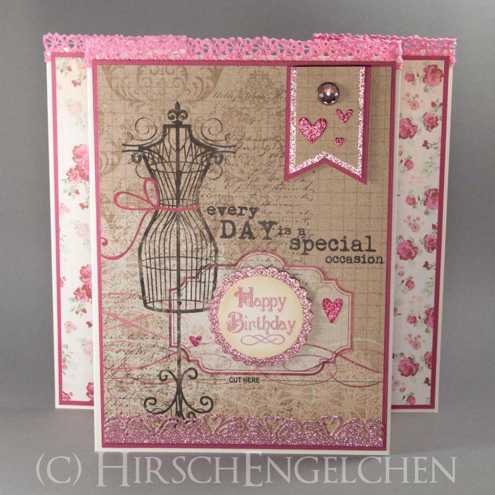 Vintage Geburtstags Karte in pink