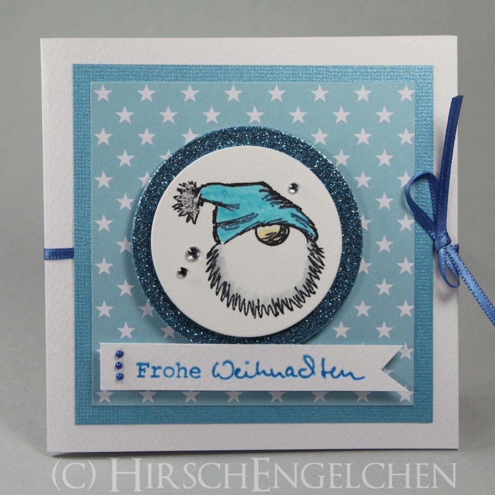 Weihnachtspost poppig bunt Tomte blau