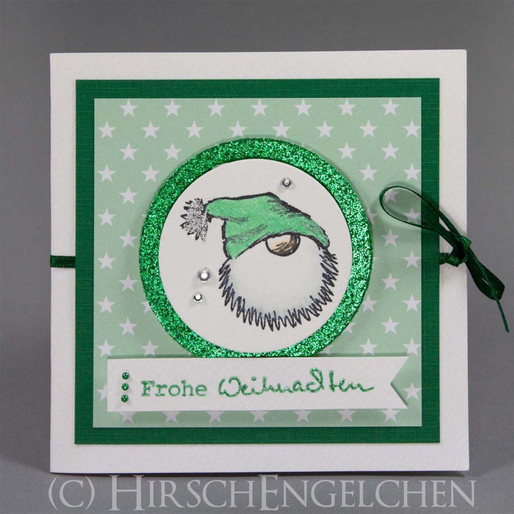 Weihnachtspost poppig bunt Tomte grün