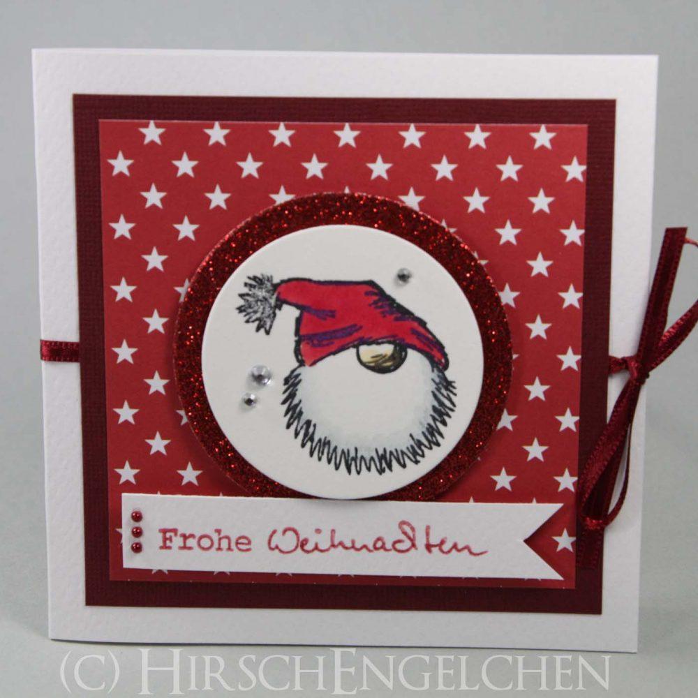 Weihnachtspost poppig bunt Tomte rot