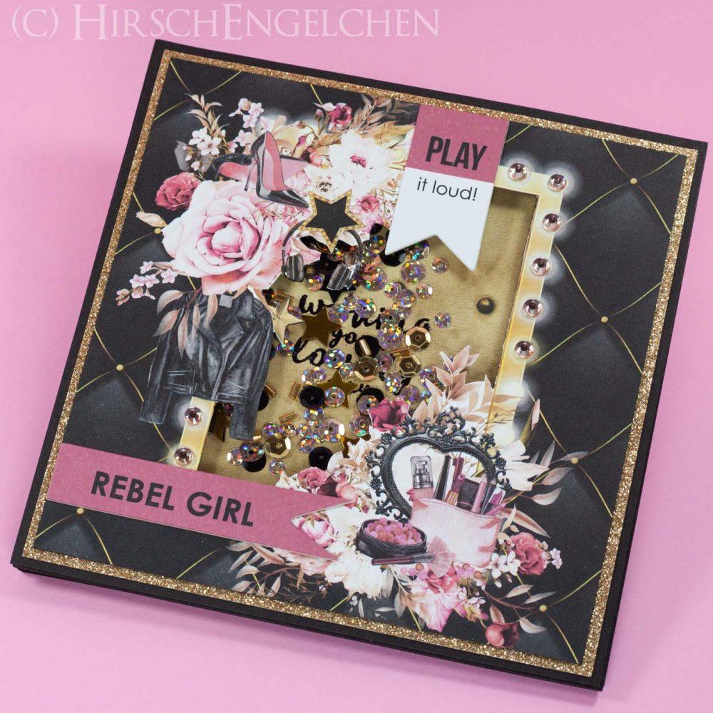 Shaker Card Glam Rock Rebel Girl